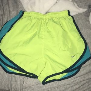 Neon Yellow And Blue Nike Shorts